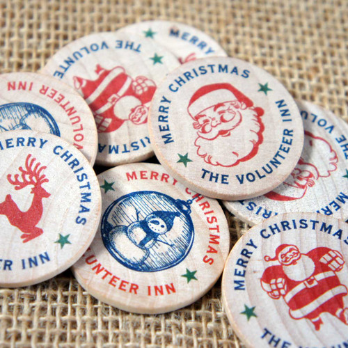 Wooden Printed Christmas Tokens - template artwork selection
