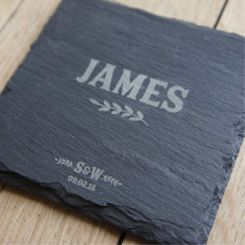 Personalised slate coaster - an ideal place setting