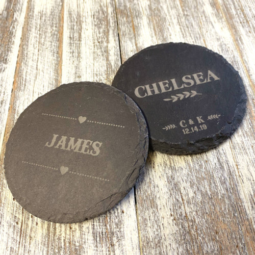 Personalised slate coasters - an ideal place setting
