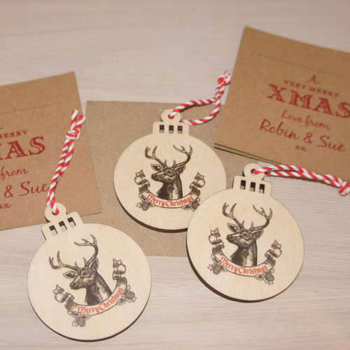 Wooden Christmas Decorations with personalised backing cards and matching envelopes - ideal for a wooden Christmas card with a difference.
