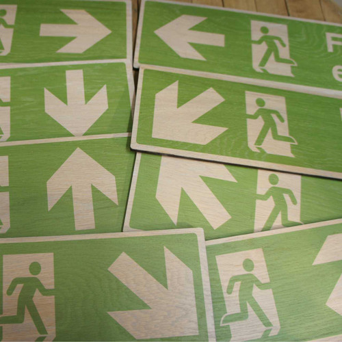 Wooden Fire Exit Directional Signs - Wooden Health & Safety Signs