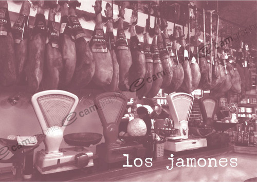 Spanish Bar - Los Jamons Wooden Photo Print