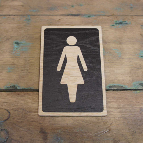 Ladies Toilet  Symbol Wooden  Sign - Wooden Health & Safety Signs