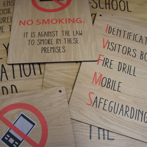 School / Nursery informational and directional signs from 4mm oak veneered mdf sign - your sign design can be printed full colour onto 4mm thick wooden sign