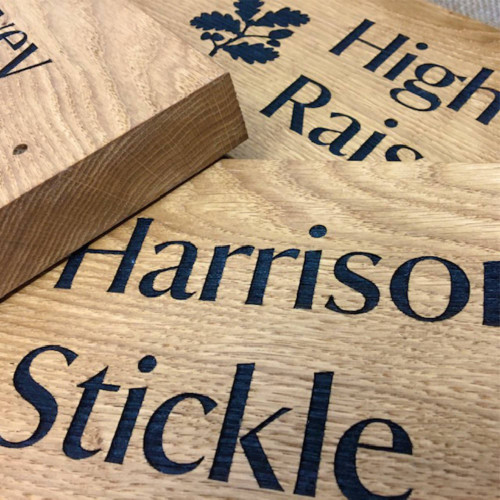 Extra thick solid oak signs with custom / personalised engraving