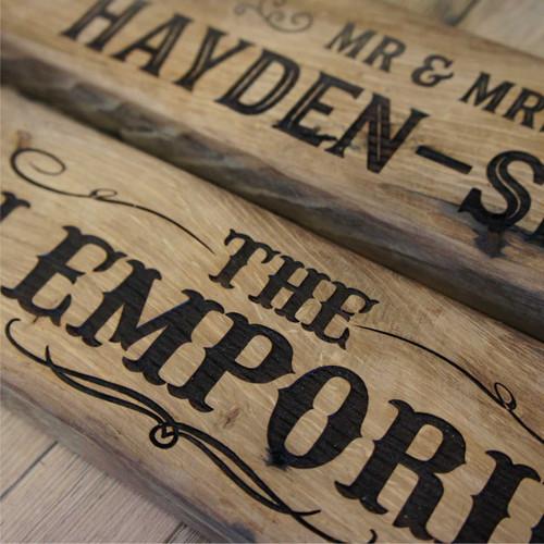 Reclaimed oak signs engraved from reclaimed, rustic oak beams.