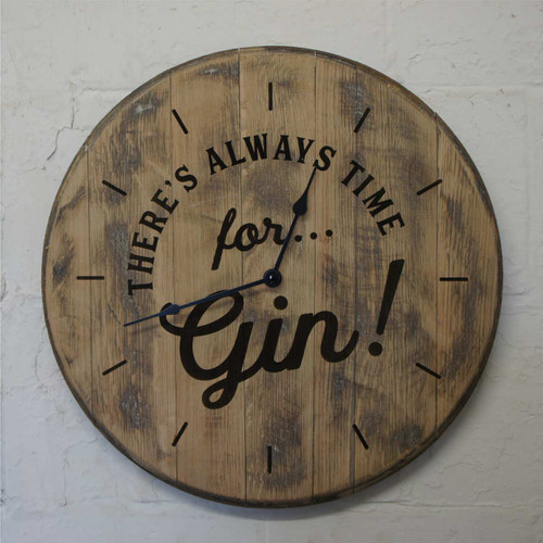 """Reclaimed oak barrel end clock - """"There's always time for Gin"""" A rustic clock for any home..."""