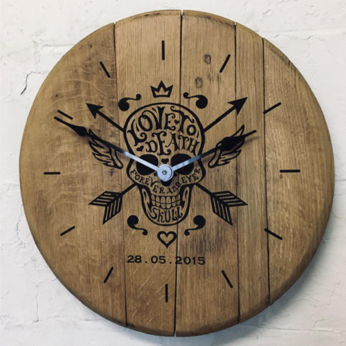 Personalised engraved oak barrel end clock - with your artwork