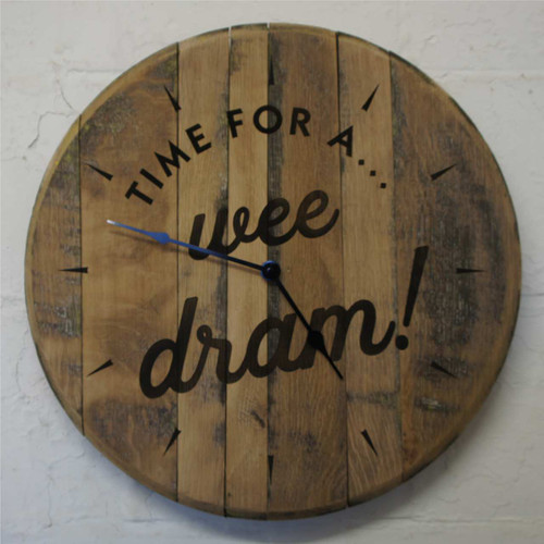 """Reclaimed oak barrel end clock - """"Time for a wee dram"""" A rustic clock for any home..."""