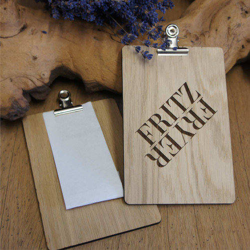 Wooden engraved bill presenters. Small wooden bill presenters with single or double sided engraving.  Small wooden clipboards with removeable bulldog clip.