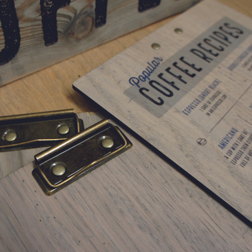 Wooden Clipboards with popular coffee recipes printed on the rear. Supplied in an option of clip choices.