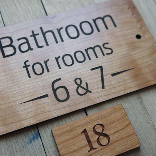 Engraved cherry wood hotel door numbers / name signs