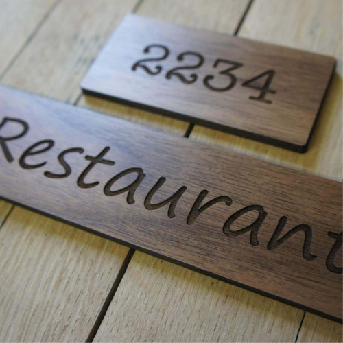 Engraved walnut wood hotel door numbers / name signs