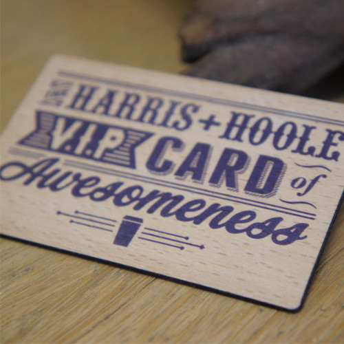 Beech wooden business cards printed on one or both sides