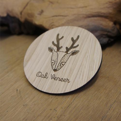 Engraved oak veneer wooden coasters