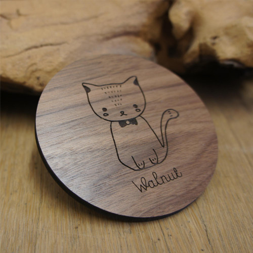 Engraved wooden coasters - solid walnut