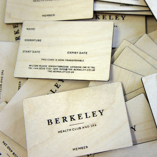 Wooden engraved membership cards - birch ply business cards with single or double sided engraving
