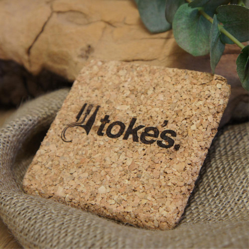 Engraved premium cork coasters with your logo / branding / message. Personalised square cork coasters.