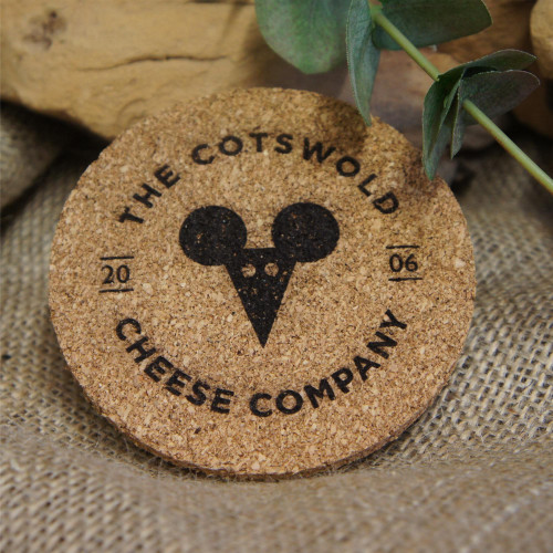 Engraved standard cork coasters with your logo / branding / message
