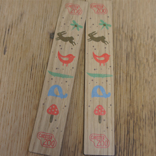 Printed Wooden Bookmarks - 1.5mm oak (150mm in length) - short and long runs,  these printed wooden bookmarks make great promotional and retail items