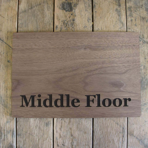 6mm walnut veneered mdf directional sign - your sign details can be engraved into 6mm thick wooden sign.  Ideals for hotels and care homes.