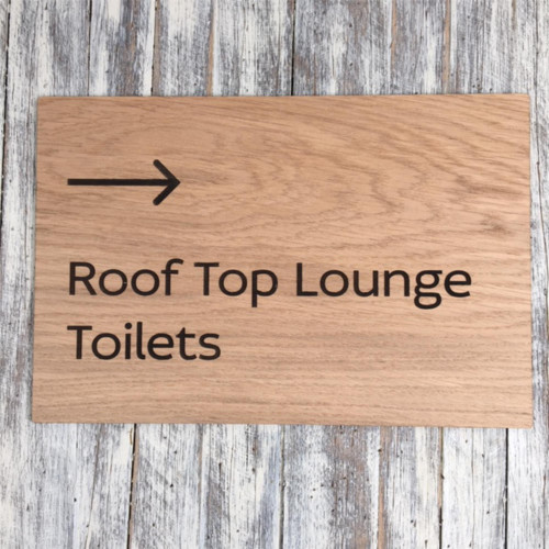 6mm oak veneered mdf directional sign - your sign details can be engraved into 6mm thick wooden sign.  Ideals for hotels and care homes. Signs can also be stained and printed to your corporate colours