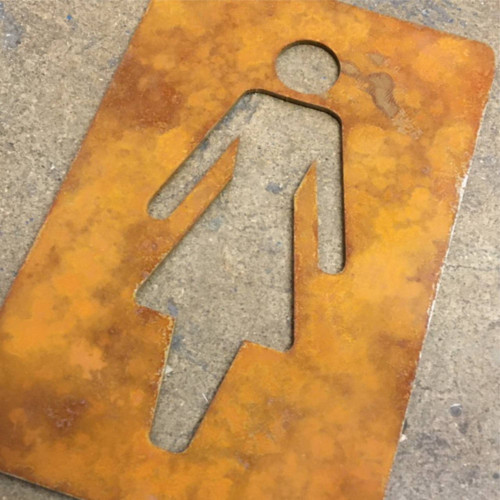 Corten Steel Ladies Toilet Sign - shows the steel with the rusty patina! This listing is for one ladies toilet sign as shown.