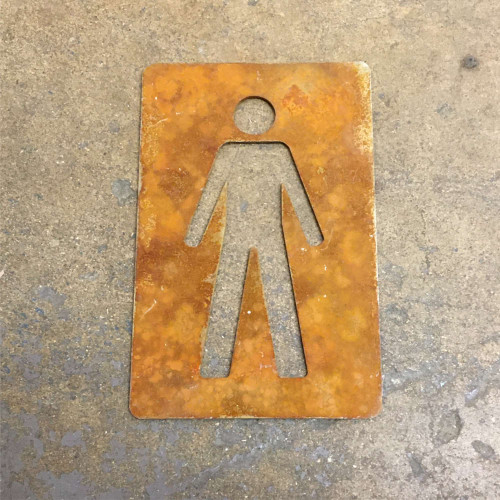 Corten Steel Mens Toilet Sign - shows the steel with the rusty patina! This listing is for one mens toilet sign.