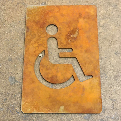 Corten Steel Disabled Toilet Sign - shows the steel after the patina has commenced! This listing is for one disabled toilet sign as shown.