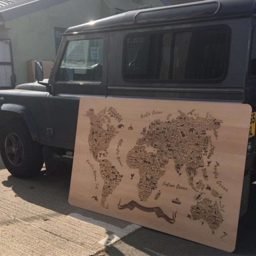 Extra large wooden laser engraving - typographic world map shown is 6 foot x 4 foot approx. Engraving size up to 2440mm x 1220mm.