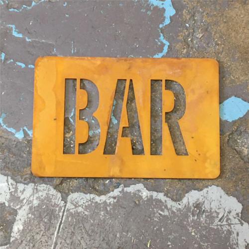Corten Steel BAR Sign