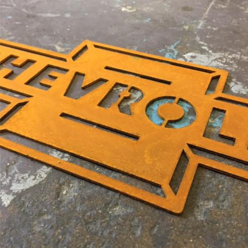 Chevrolet Metal sign, Corten steel Chevy sign, Chevrolet Bow Tie Corten Steel Sign