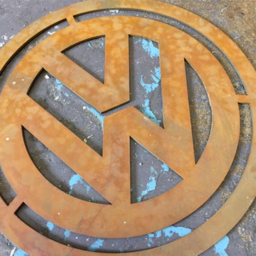 Volkswagen Metal logo, Corten steel VW sign, V Dubs Rusty steel logo Corten Steel Sign