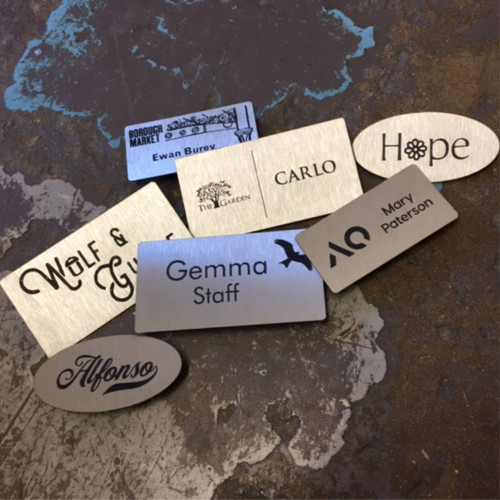 Stainless steel laser marked badges - contour cut to any shape can be personalised with individual names.