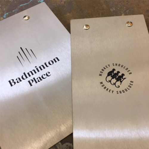 Stainless steel clipboards with fixed clip. Offered in a variety of sizes. Unbranded and unbranded clipboards available.