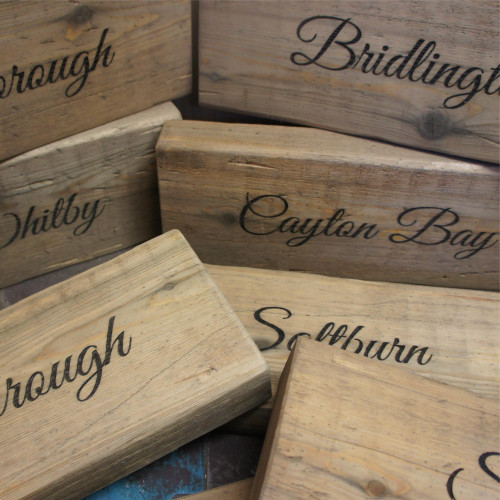 50mm thickness larch rustic engraved wooden signs - suitable for external use.
