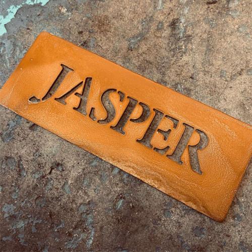 Corten steel horse name sign. Rusty metal stable name plaque.
