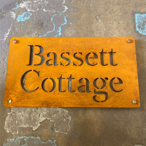 Rusty steel house sign. Corten Steel House Sign - 2 lines of text centralised