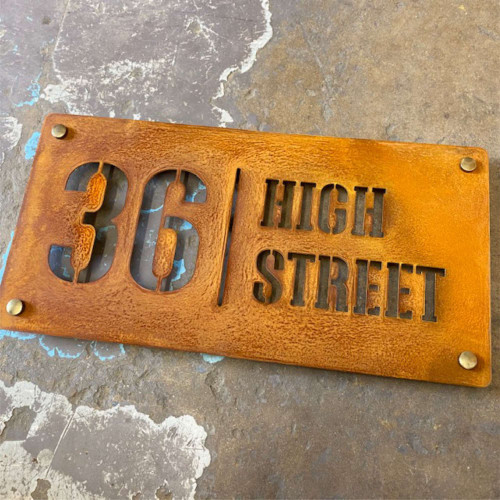 Corten or Rusty Steel House Name Sign - Style A