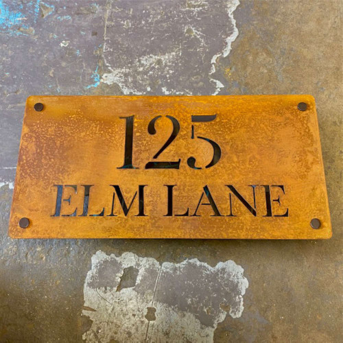 Corten or Rusty Steel House Name Sign - Style B