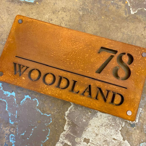 Corten or Rusty Steel House Name Sign - Style C