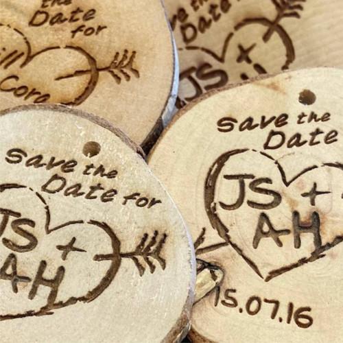 Engraved Rustic Wood Slices - personalised wood slice tags
