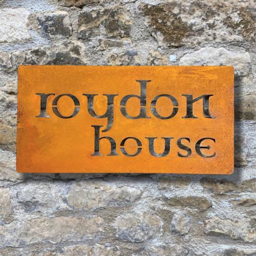Corten Steel House Sign - Celtic Garamond