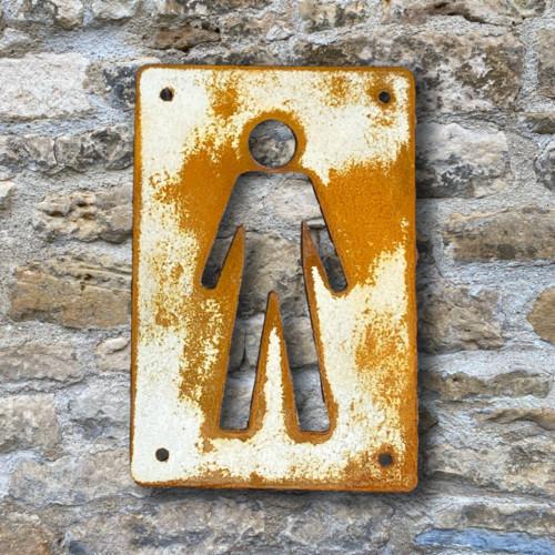 Vintage look rusty steel men's loo sign from painted and distressed Corten steel