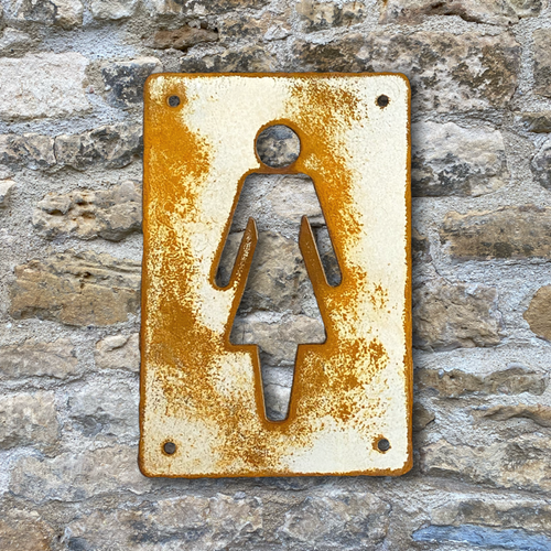 Vintage look rusty steel womens' loo sign from painted and distressed Corten steel