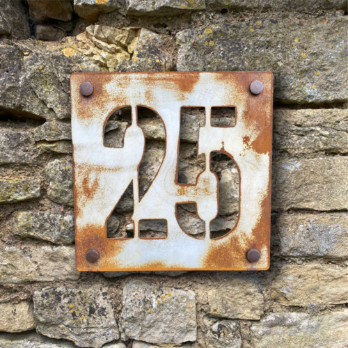 Vintage style painted and distressed rusty steel house names and numbers. Rusty steel signs. Weathered steel signs. Corten steel signs.