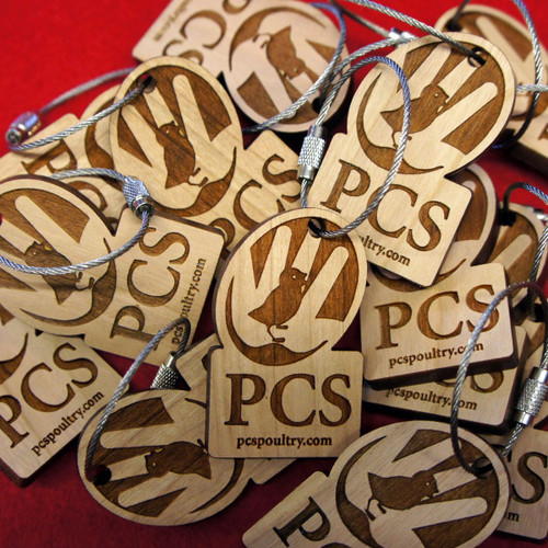 Engraved cherry wood keyrings - with screw connector