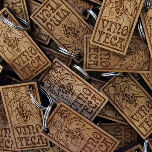 Engraved solid cherry wooden keyrings - 5mm to 6mm thick (with split rings)