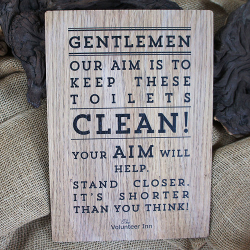 """Pub Signs and Notices - """"Stand Closer"""" toilet sign.  Wooden pub sign."""