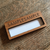 Engraved wooden badges with window area for self write personalisation